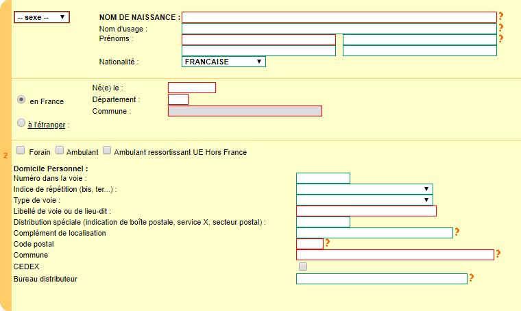 Question 2 déclaration de début d'activité