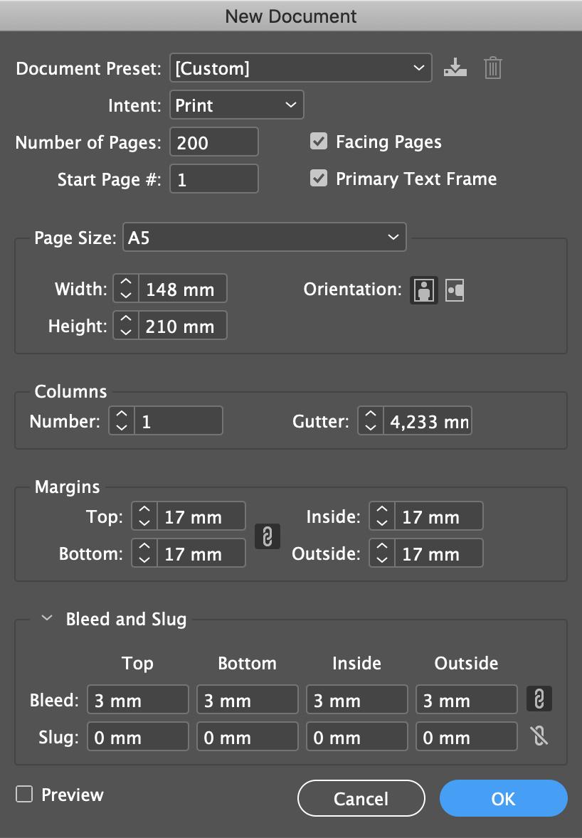 Indesign paramètres nouveau fichier corps de livre