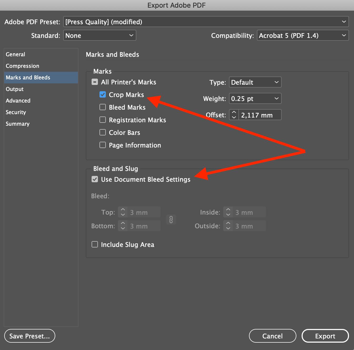 Paramètres traits de coupe et fond perdu export pdf InDesign