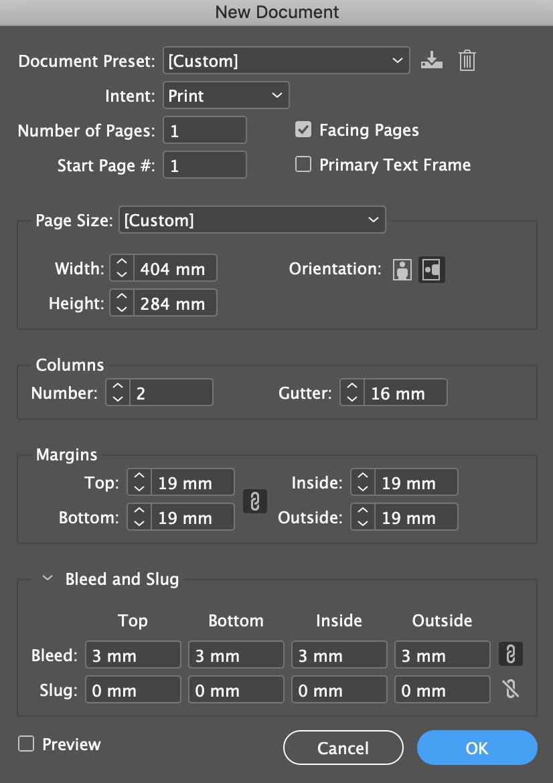 Paramètrer InDesign pour couverture d'un livre relié