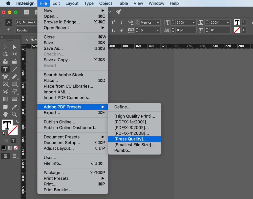 Créer un pdf de couverture dans InDesign