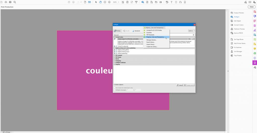 Adobe acrobat pro vérifier couleurs avec preflight prepress, color and transparency