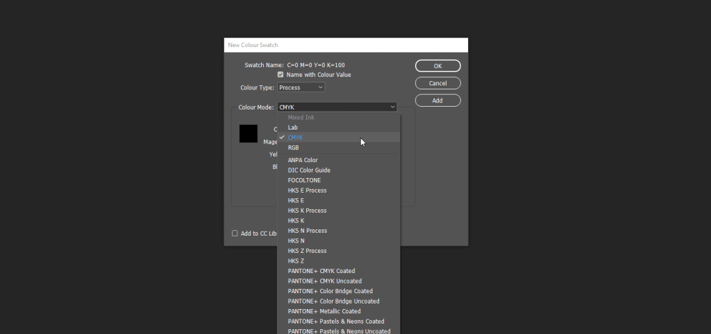 New Colour Swachtes InDesign