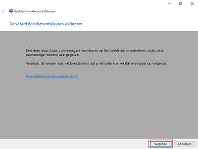 Beeldscherm kalibreren met Windows (stap 2)