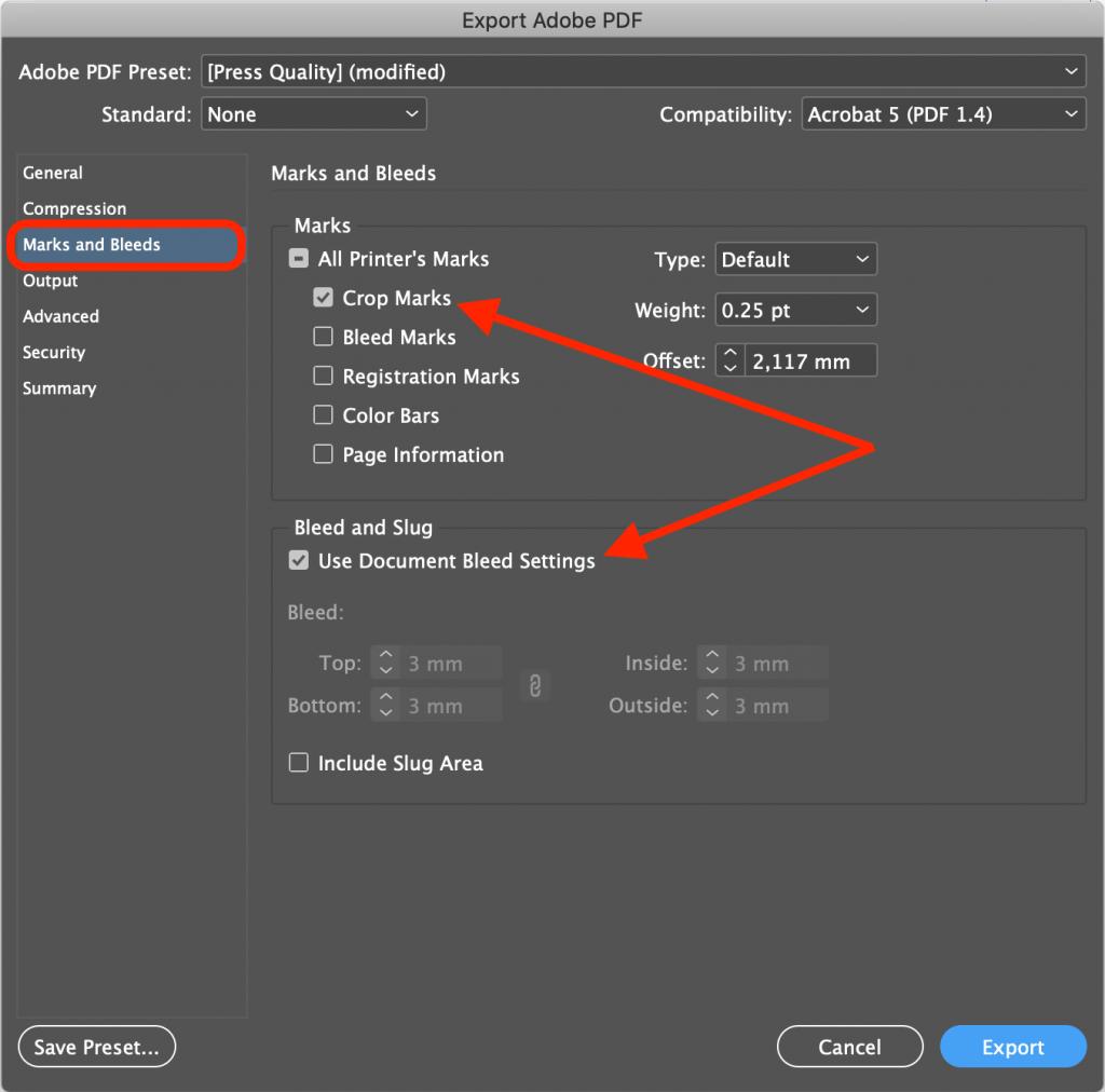 PDF opslaan Cropmarks