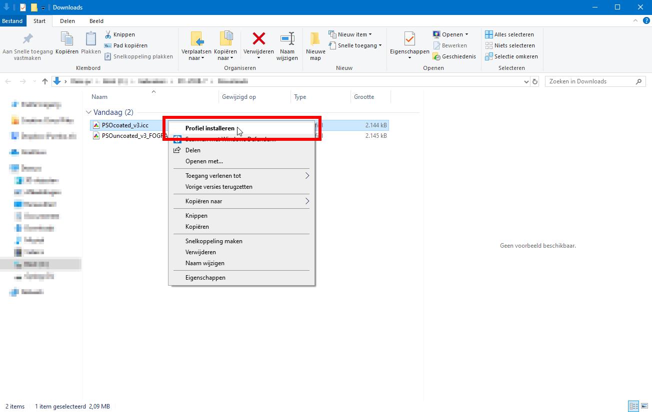 Kleurprofiel installeren op Windows