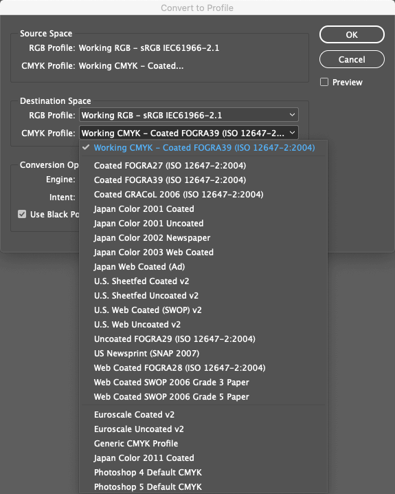 Indesign convert to profile menu