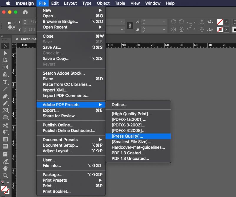 InDesign exporteren naar PDF met Press Quality
