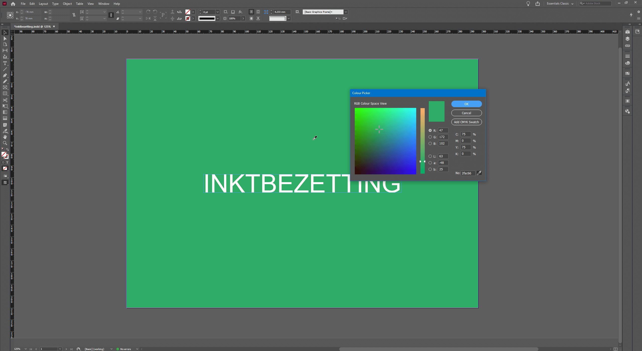 InDesign inktbezetting checken met de pipet tool