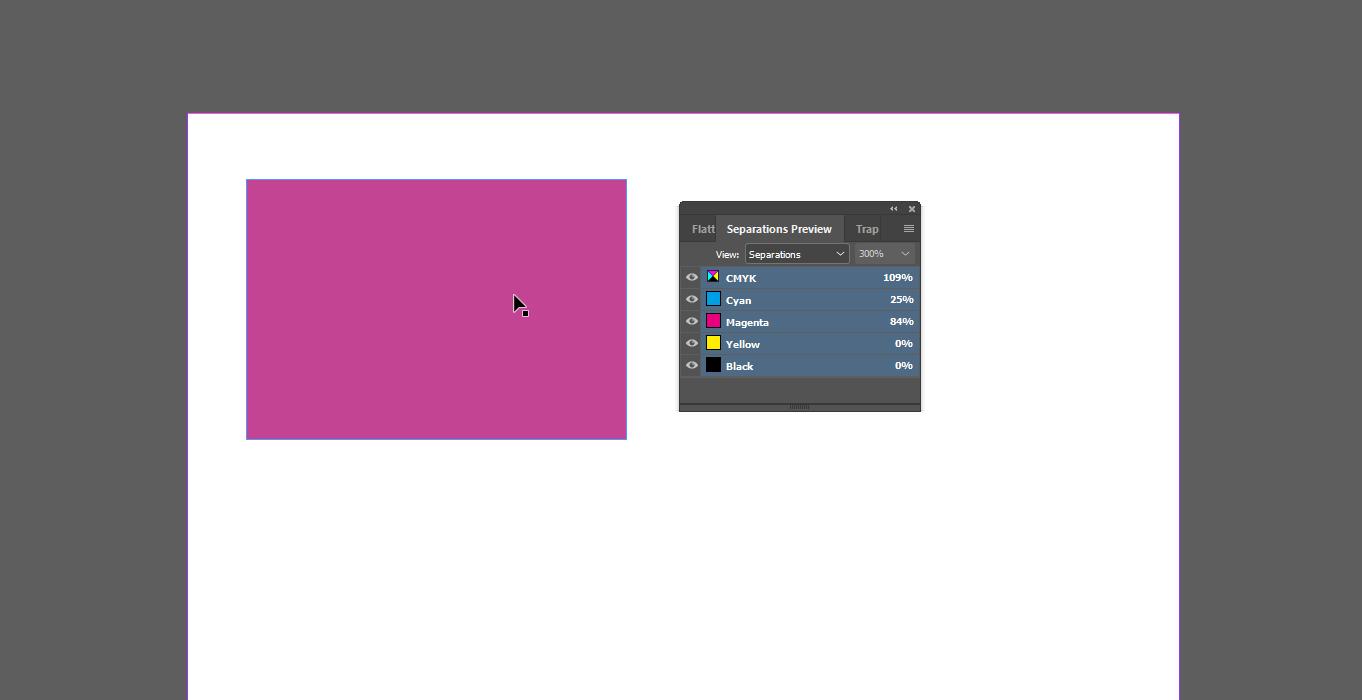 InDesign Separations preview kleurwaardes