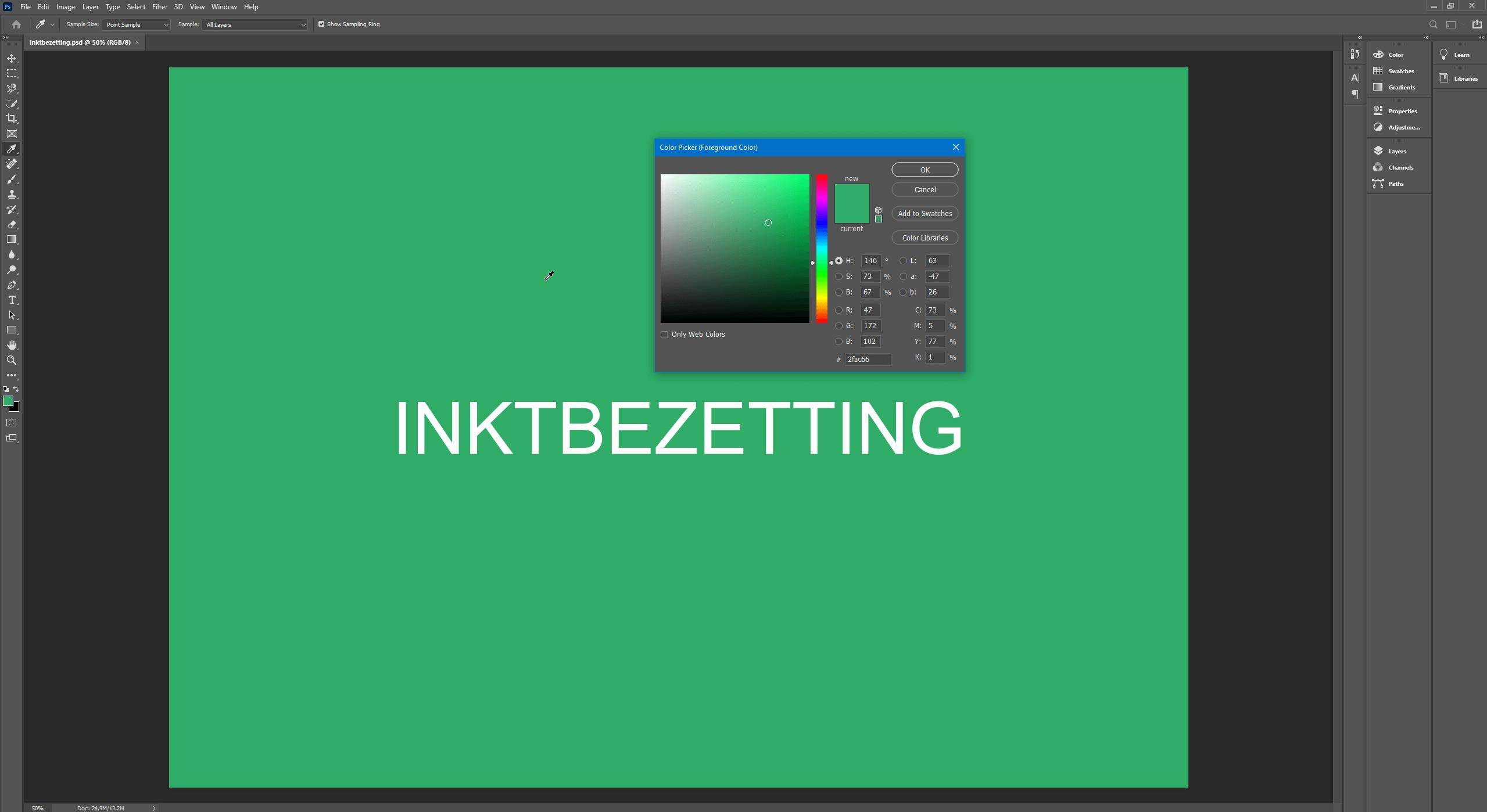 Inktbezetting controleren in Photoshop met de pipet tool