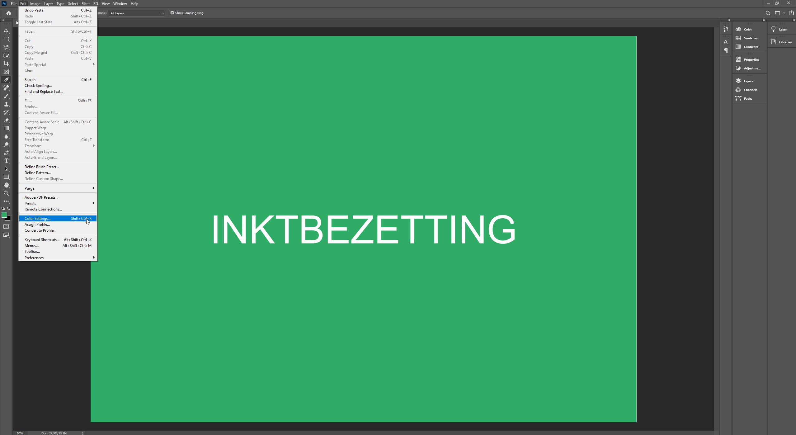 Photoshop inktbezetting controleren met edit - color settings